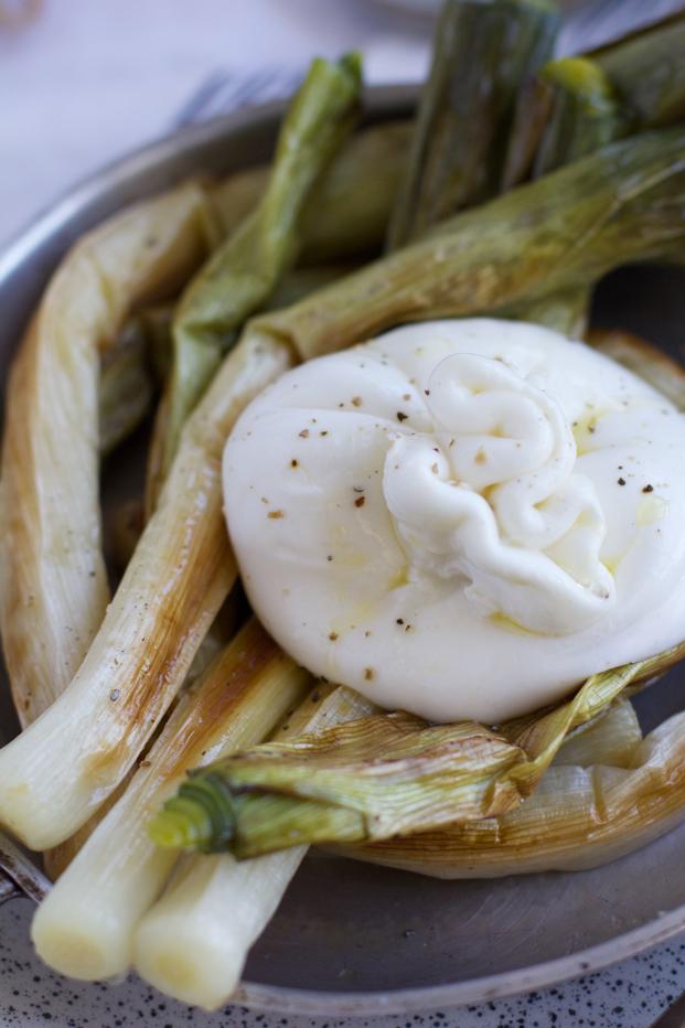 Burrata à la truffe et poireaux rôties - Besly -