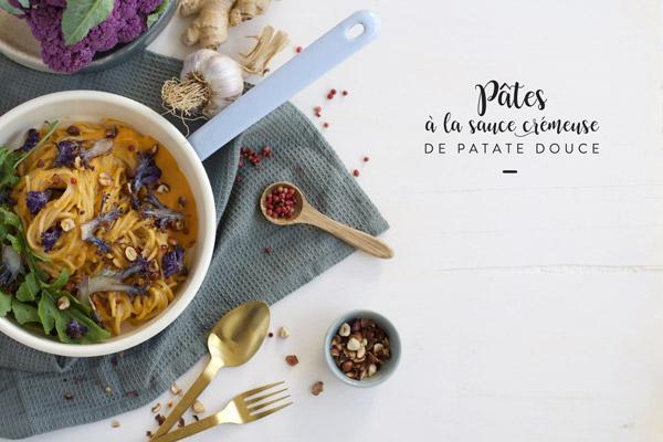 Pâtes à la sauce crémeuse de patate douce - Recette Besly - Lyon - Graphisme