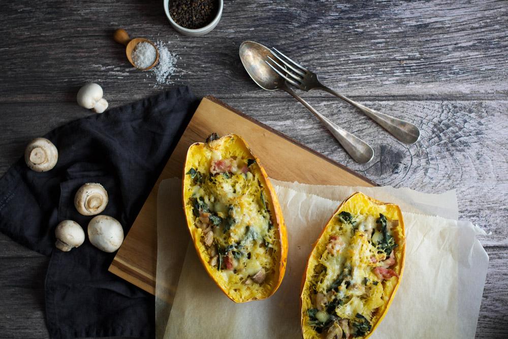Recette Courge spaghetti farcie du blog de cuisine et stylisme culinaire Besly