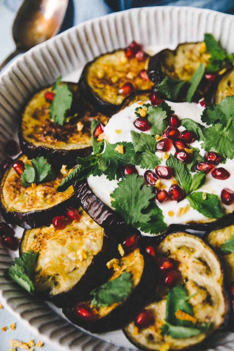 Recette aubergine aux agrumes stylisme et photographie culinaire Lyon