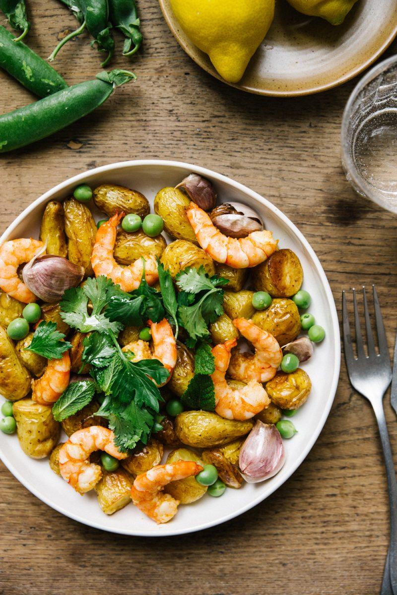 Recette salade PDT grenailles crevettes et petits pois Styliste culinaire Lyon Besly