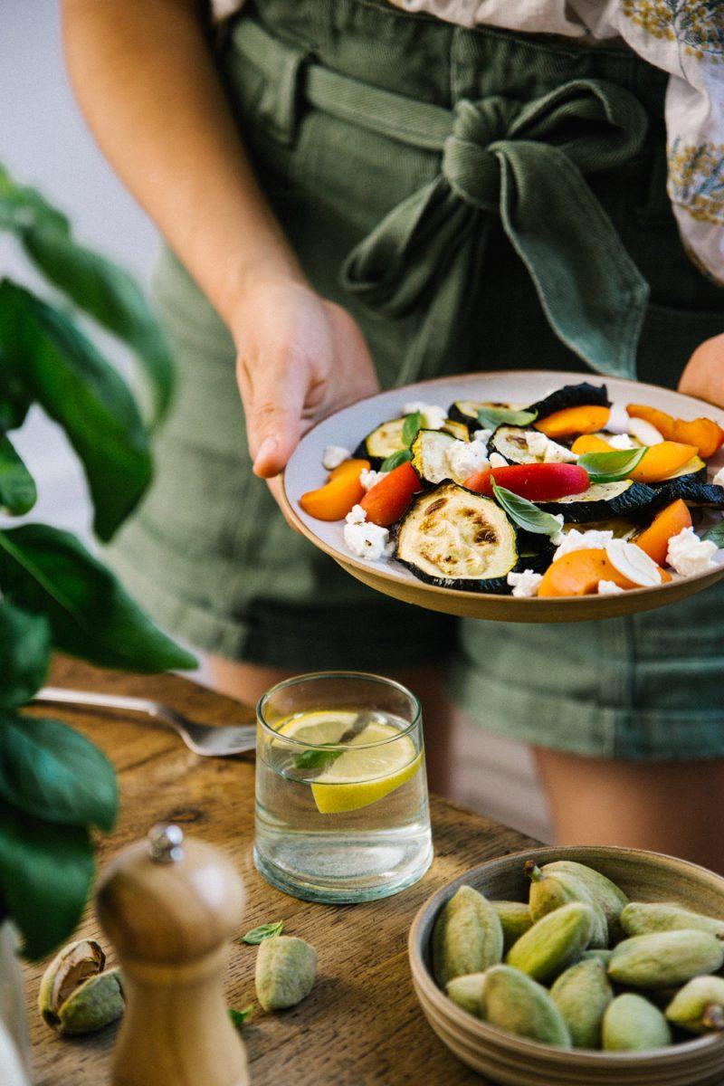 Recette Salade de courgettes rôtis aux abricots Styliste culinaire Lyon Besly